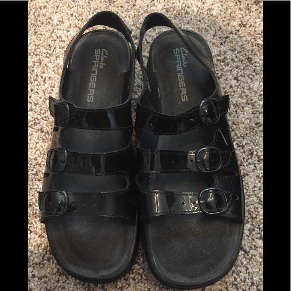 6c0bc2f73eedf2 Clarks Shoes - Clark s black patent springers